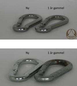 Der er stor forskel paa metaldelenes beskaffenhed den rigtige fjedervugge fra Natures Sway har metaldele af rustfrit staal - forskellen er tydelig