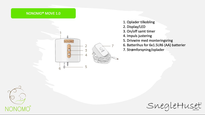 NONOMO MOVE 1.0 - motor til slyngevugge og fjedervugge