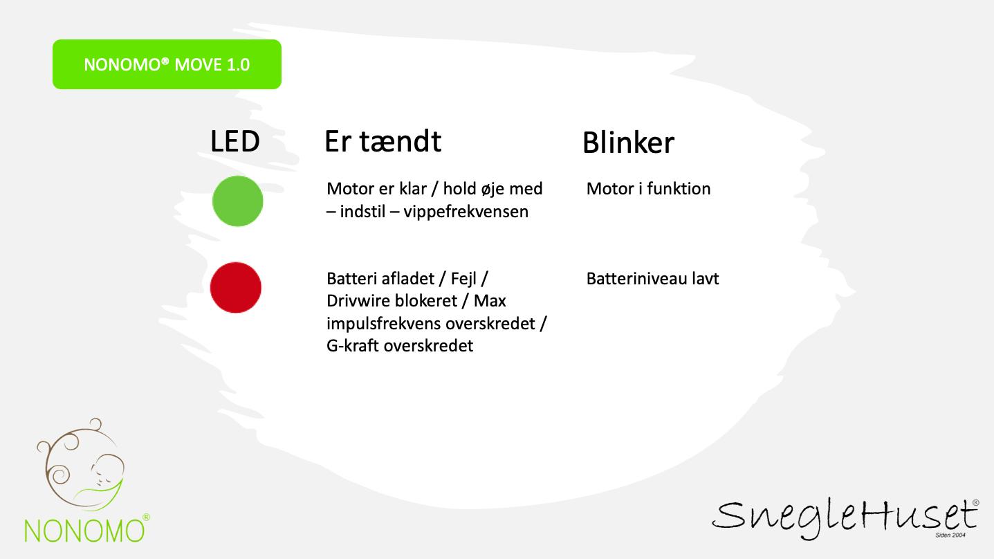 NONOMO MOVE 1.0 - motor til slyngevugge og fjedervugge LED indikator